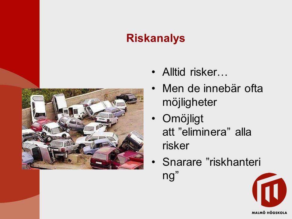Riskanalys Alltid risker… Men de innebär ofta möjligheter.