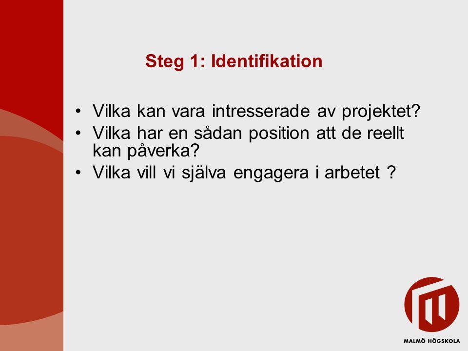 Steg 1: Identifikation Vilka kan vara intresserade av projektet Vilka har en sådan position att de reellt kan påverka