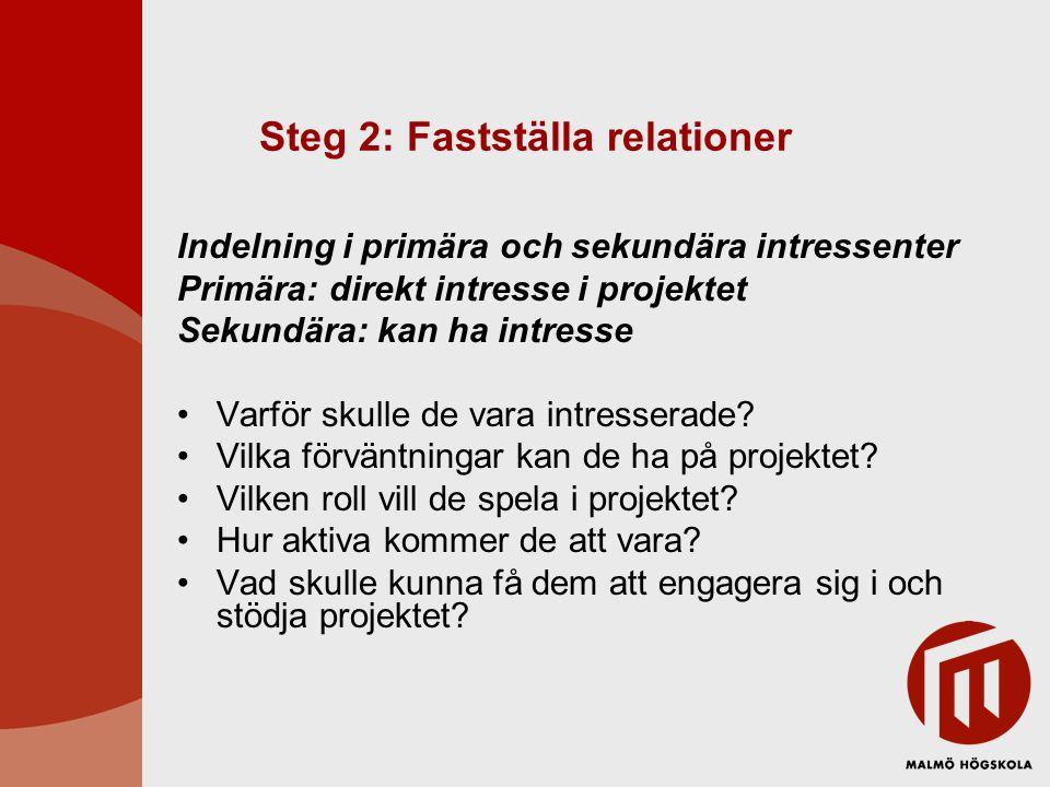 Steg 2: Fastställa relationer