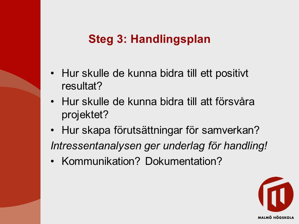 Steg 3: Handlingsplan Hur skulle de kunna bidra till ett positivt resultat Hur skulle de kunna bidra till att försvåra projektet