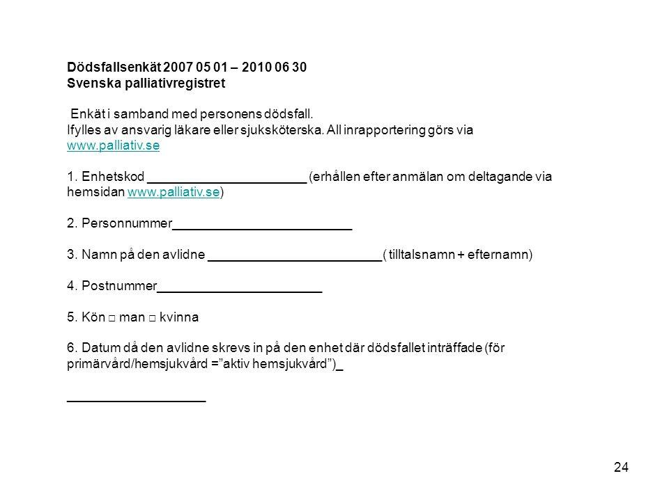 Dödsfallsenkät 2007 05 01 – 2010 06 30 Svenska palliativregistret. Enkät i samband med personens dödsfall.