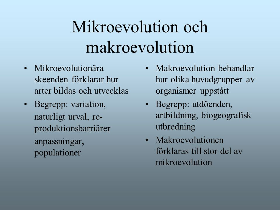 Mikroevolution och makroevolution