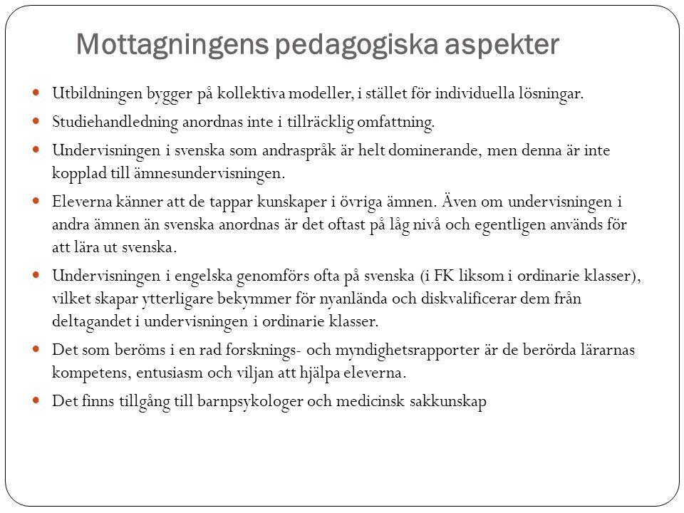 Mottagningens pedagogiska aspekter