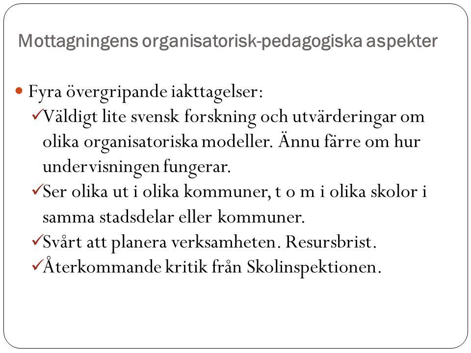 Mottagningens organisatorisk-pedagogiska aspekter