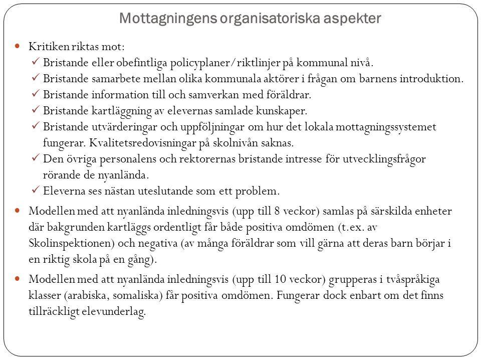 Mottagningens organisatoriska aspekter