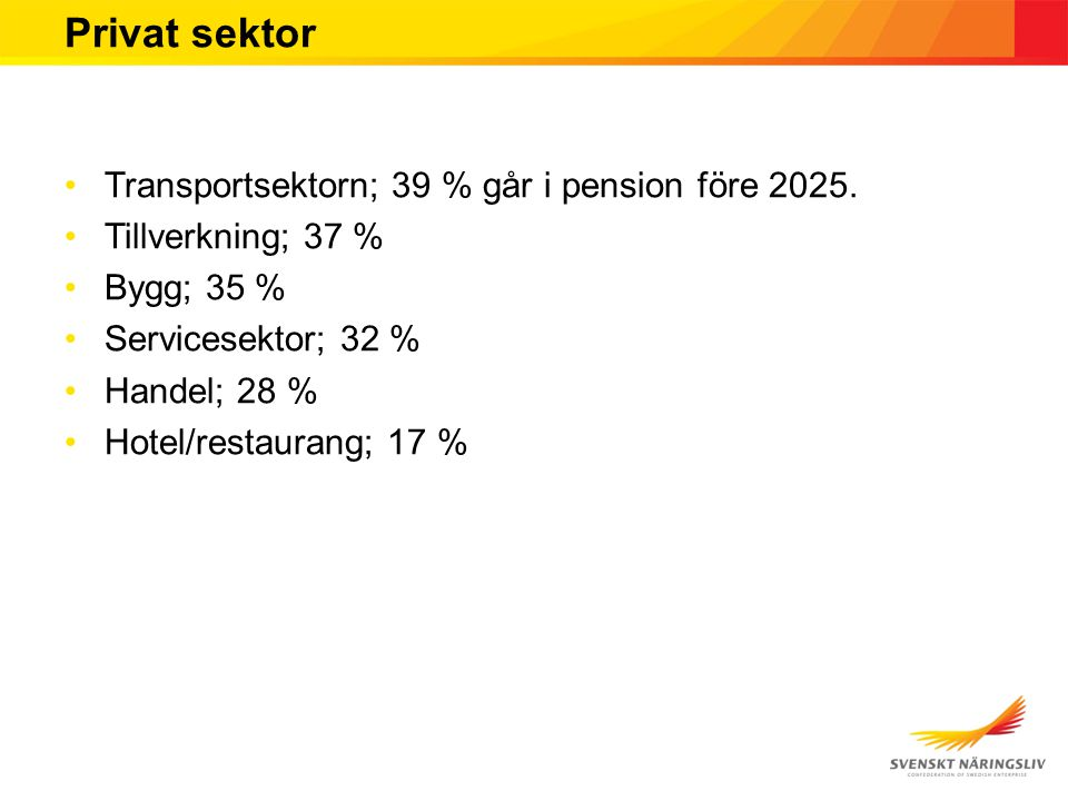 Privat sektor Transportsektorn; 39 % går i pension före 2025.