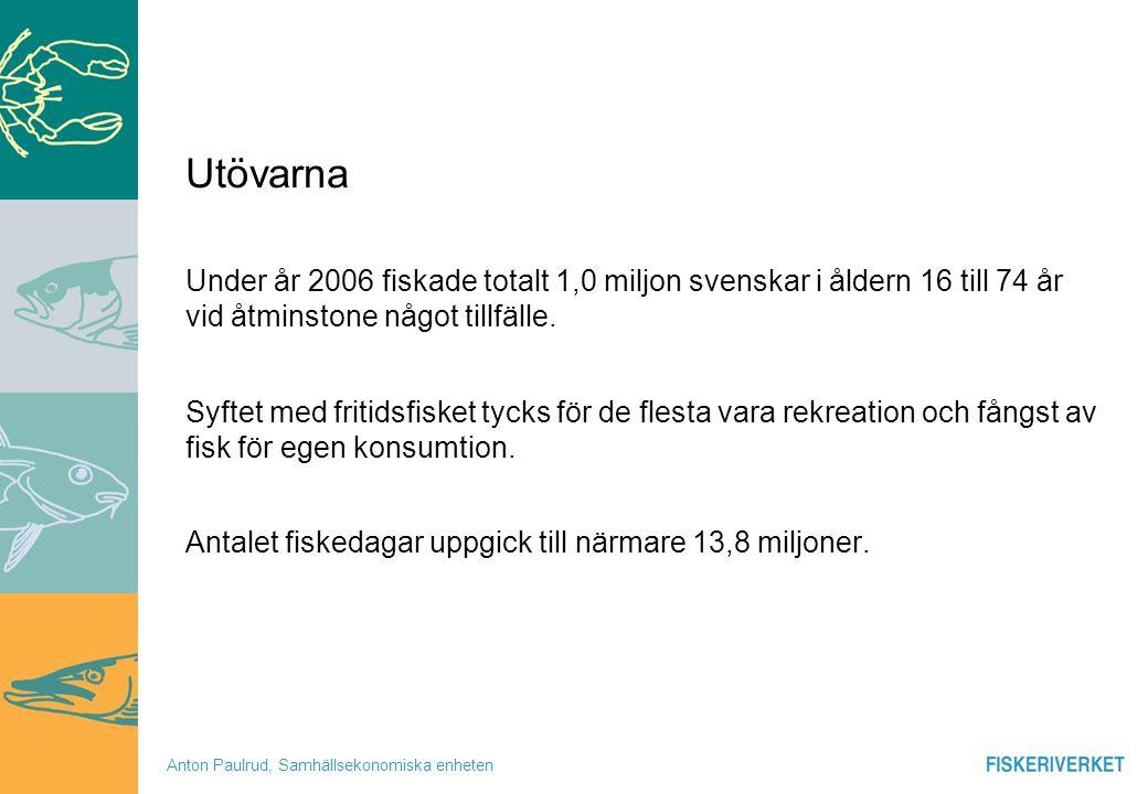 Utövarna Under år 2006 fiskade totalt 1,0 miljon svenskar i åldern 16 till 74 år vid åtminstone något tillfälle.