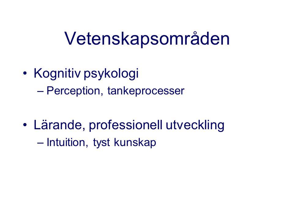 Vetenskapsområden Kognitiv psykologi Lärande, professionell utveckling