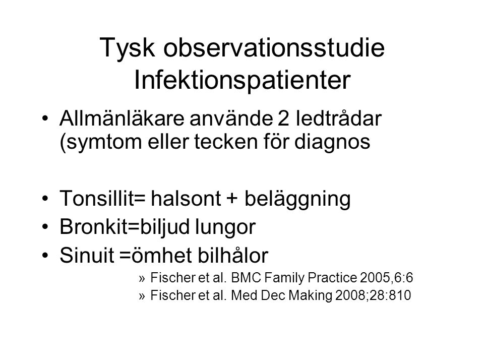 Tysk observationsstudie Infektionspatienter