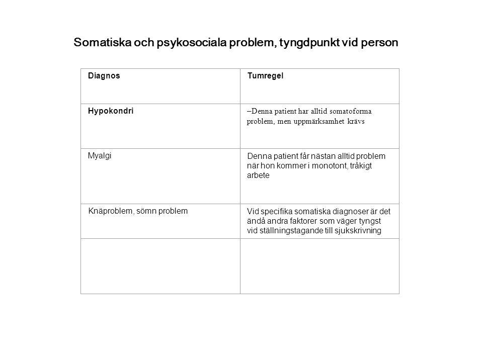 Somatiska och psykosociala problem, tyngdpunkt vid person