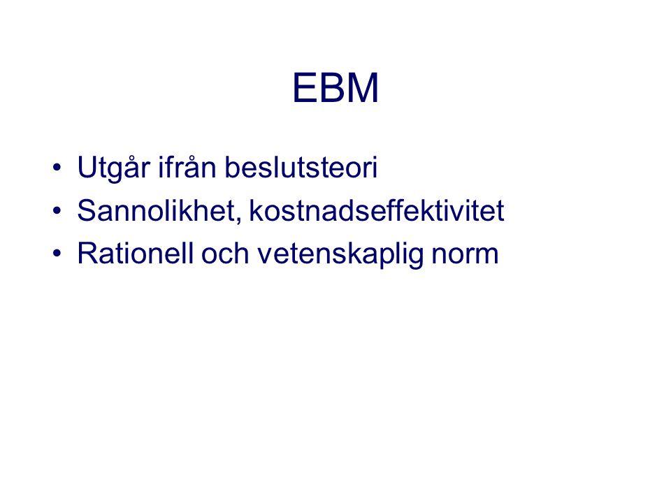 EBM Utgår ifrån beslutsteori Sannolikhet, kostnadseffektivitet