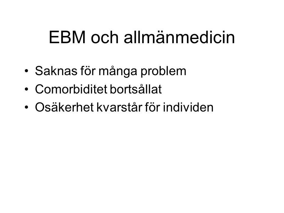 EBM och allmänmedicin Saknas för många problem Comorbiditet bortsållat