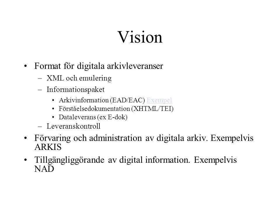 Vision Format för digitala arkivleveranser