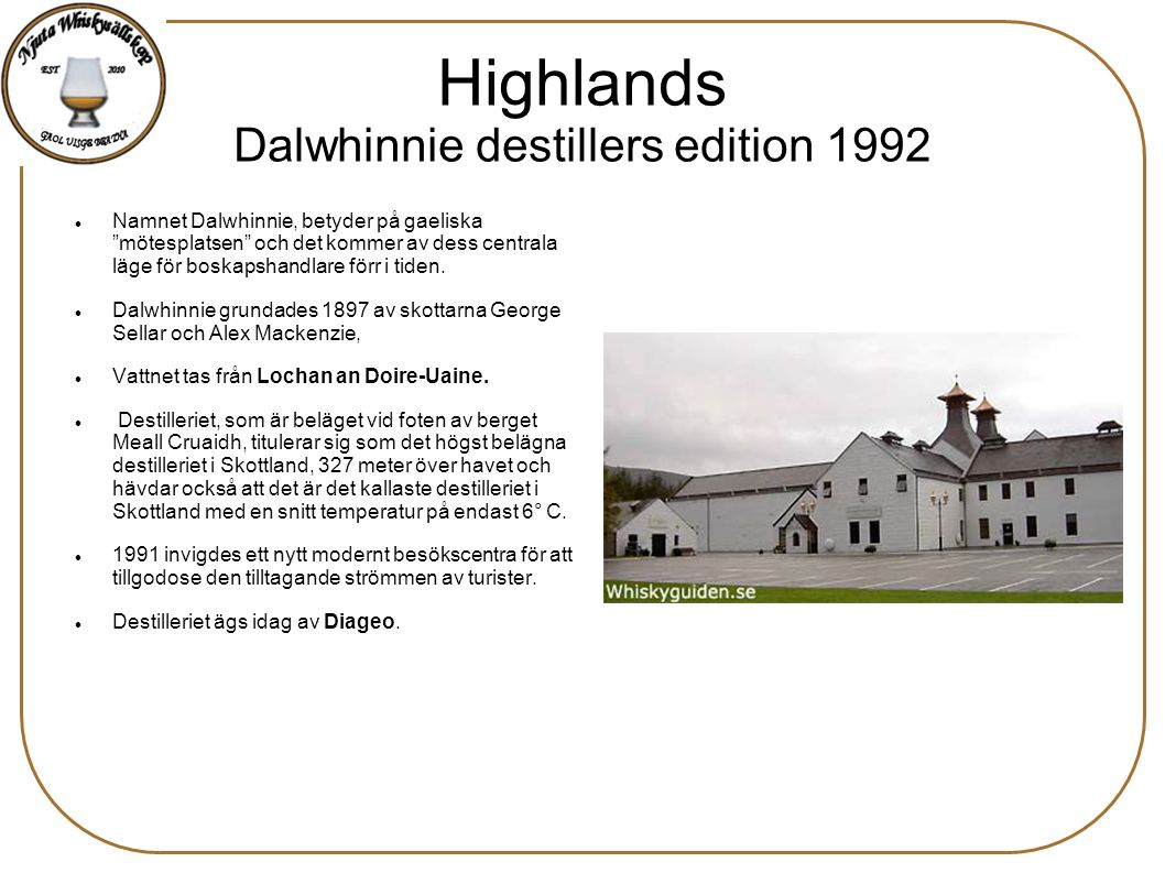 Highlands Dalwhinnie destillers edition 1992