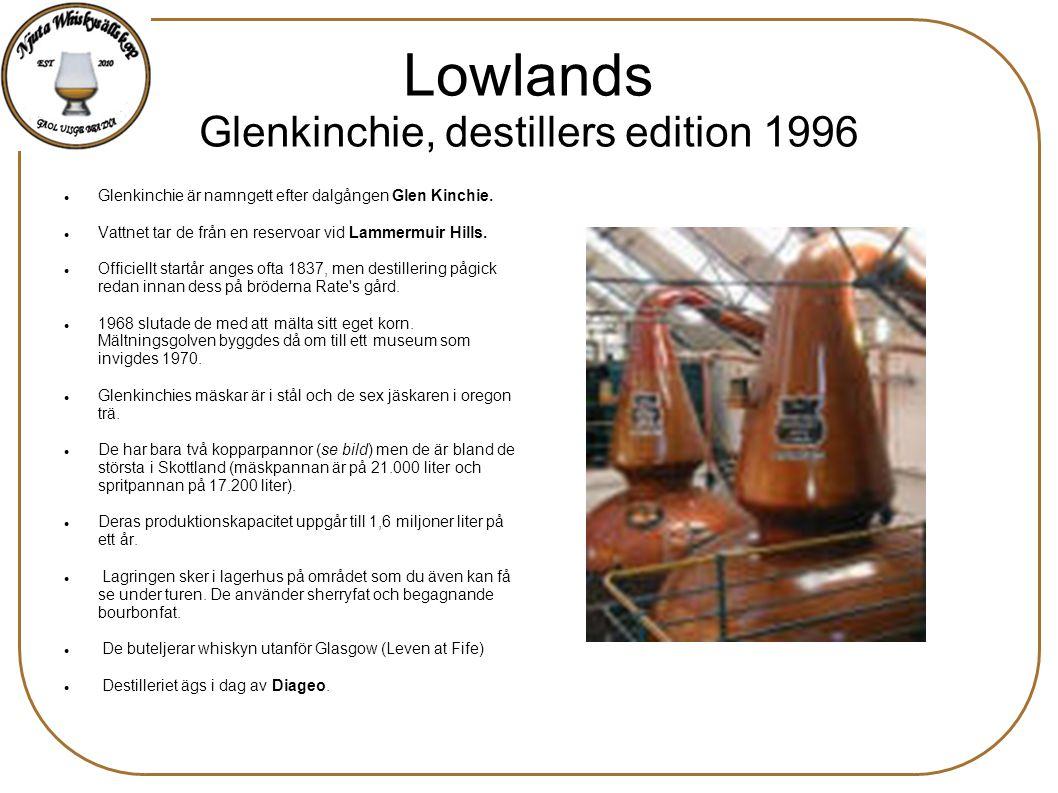Lowlands Glenkinchie, destillers edition 1996