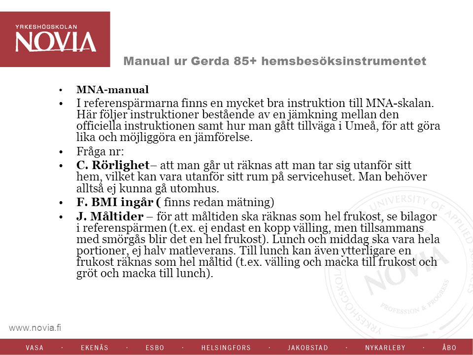 Manual ur Gerda 85+ hemsbesöksinstrumentet