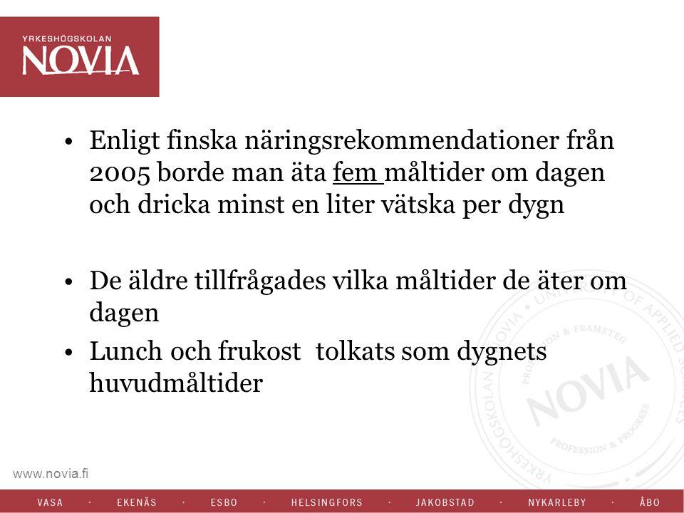 Enligt finska näringsrekommendationer från 2005 borde man äta fem måltider om dagen och dricka minst en liter vätska per dygn