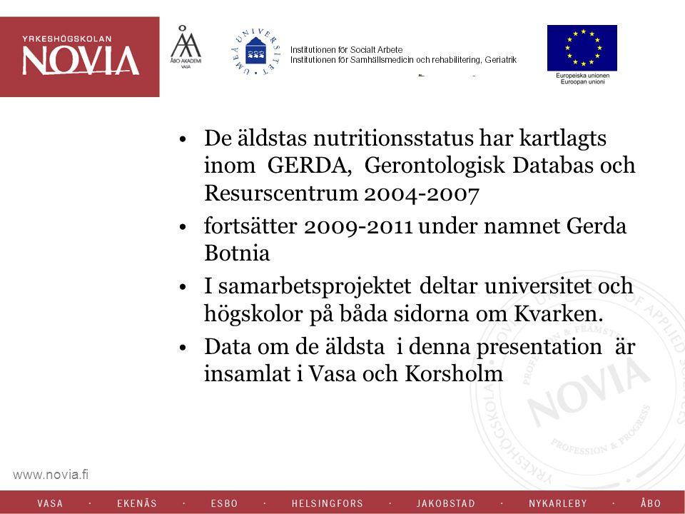 De äldstas nutritionsstatus har kartlagts inom GERDA, Gerontologisk Databas och Resurscentrum 2004-2007