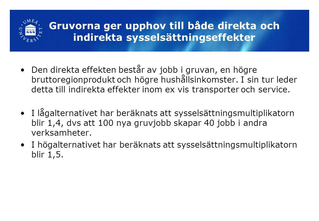 Gruvorna ger upphov till både direkta och indirekta sysselsättningseffekter