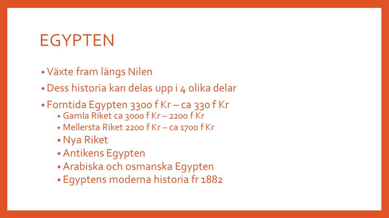 EGYPTEN Växte fram längs Nilen