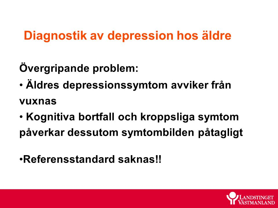Diagnostik av depression hos äldre