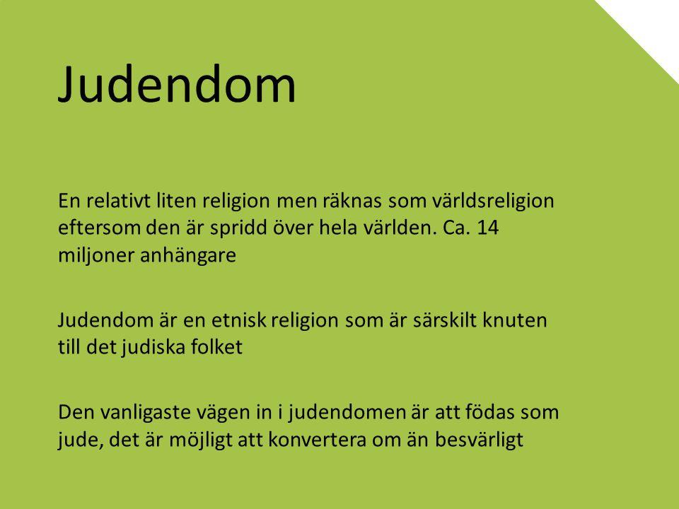 Judendom En relativt liten religion men räknas som världsreligion eftersom den är spridd över hela världen. Ca. 14 miljoner anhängare.