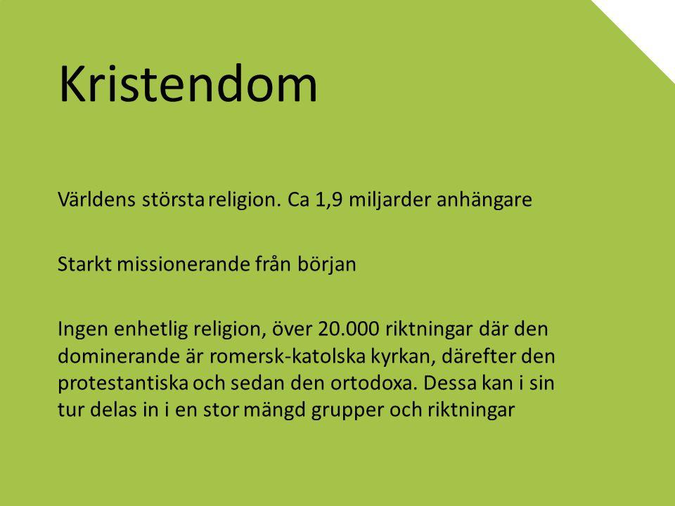 Kristendom Världens största religion. Ca 1,9 miljarder anhängare
