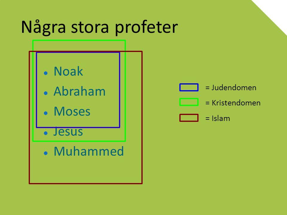 Några stora profeter Noak Abraham Moses Jesus Muhammed = Judendomen
