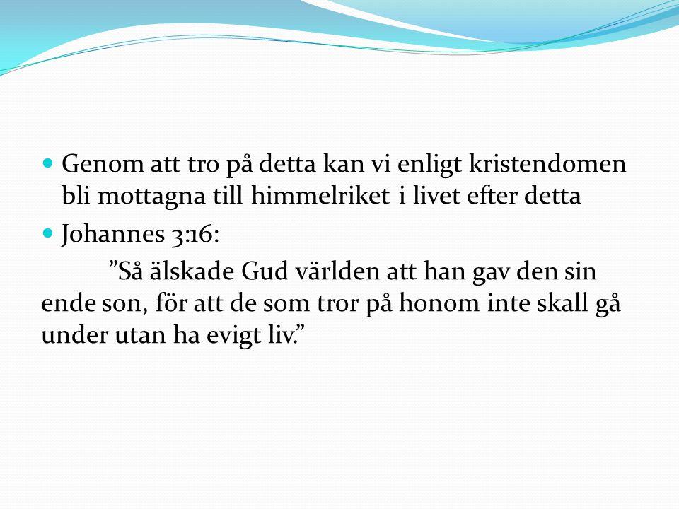 Genom att tro på detta kan vi enligt kristendomen bli mottagna till himmelriket i livet efter detta