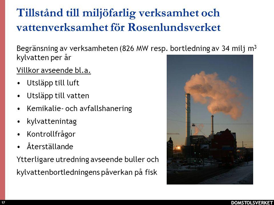 Tillstånd till miljöfarlig verksamhet och vattenverksamhet för Rosenlundsverket