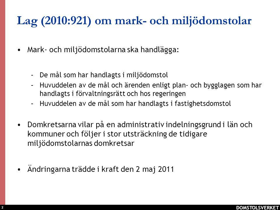 Lag (2010:921) om mark- och miljödomstolar