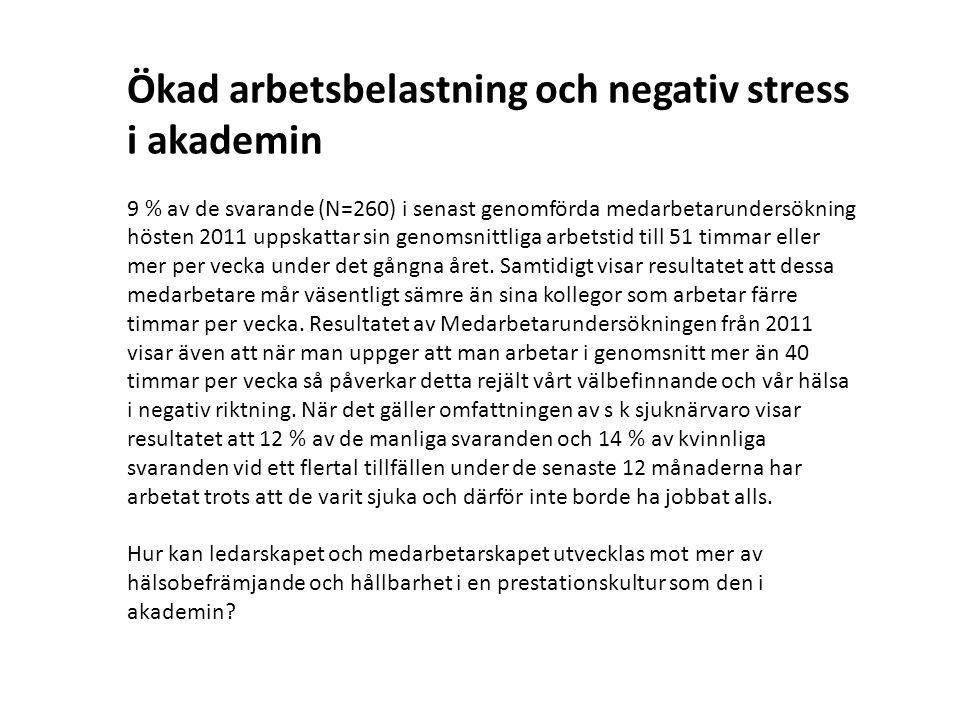 Ökad arbetsbelastning och negativ stress i akademin