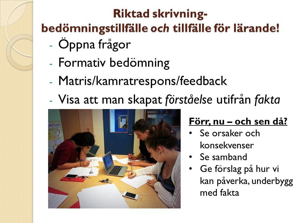 Riktad skrivning- bedömningstillfälle och tillfälle för lärande!