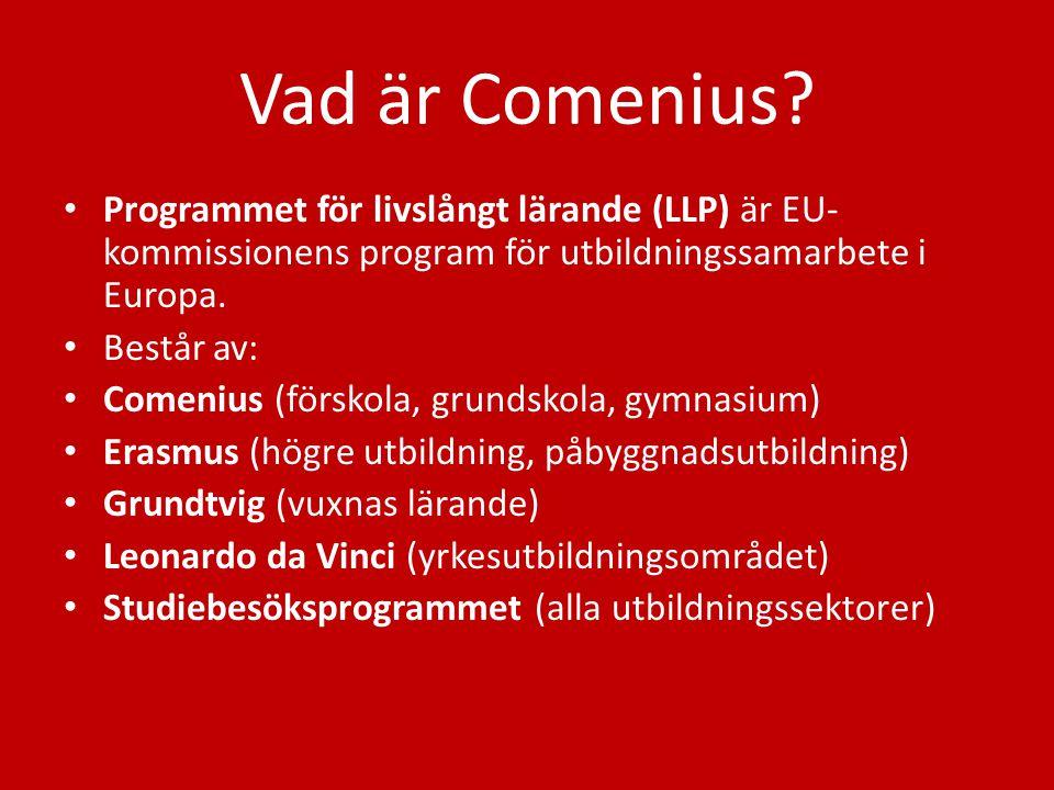 Vad är Comenius Programmet för livslångt lärande (LLP) är EU-kommissionens program för utbildningssamarbete i Europa.