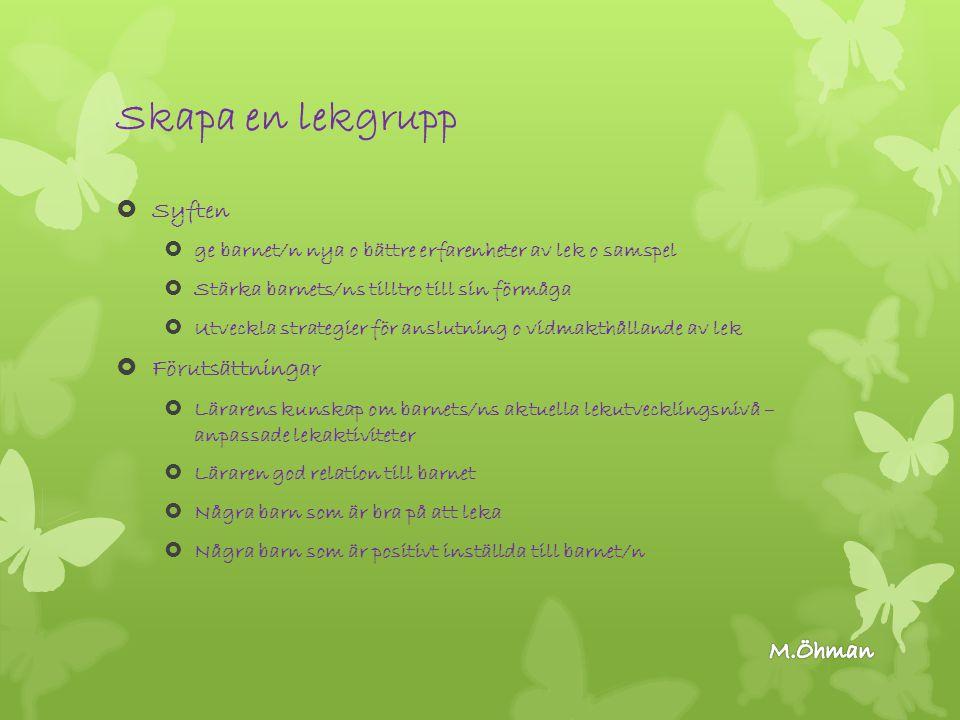Skapa en lekgrupp Syften Förutsättningar M.Öhman