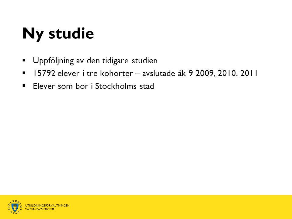 Ny studie Uppföljning av den tidigare studien