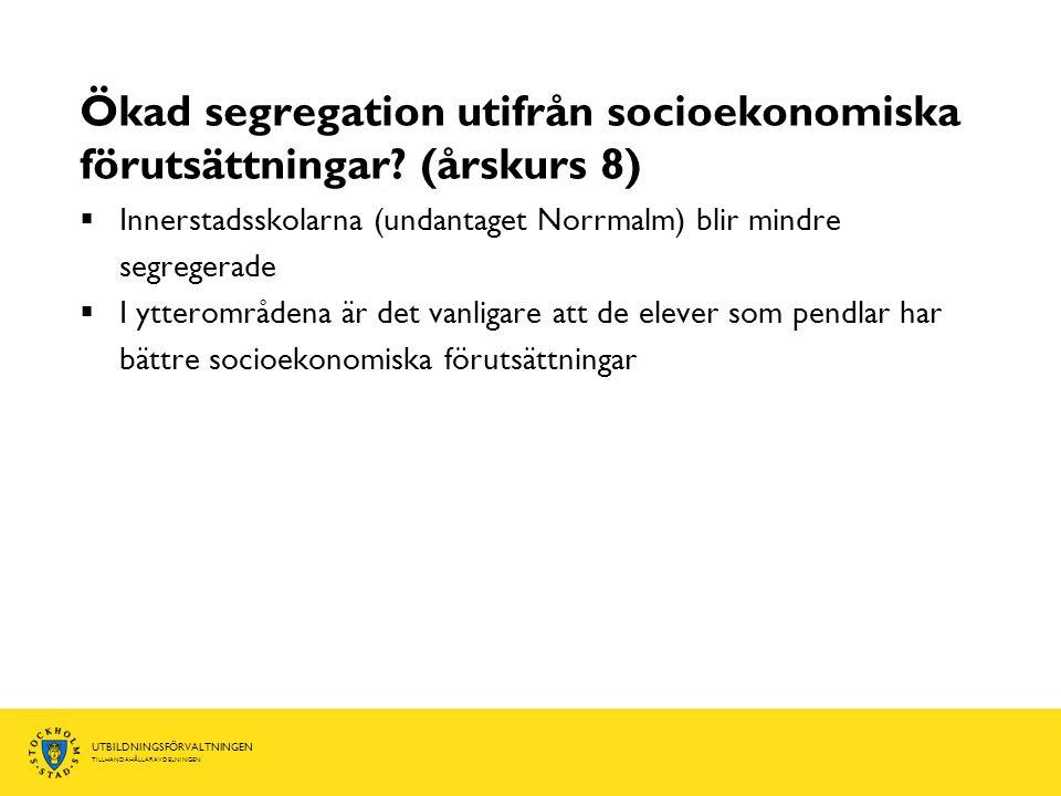 Ökad segregation utifrån socioekonomiska förutsättningar (årskurs 8)