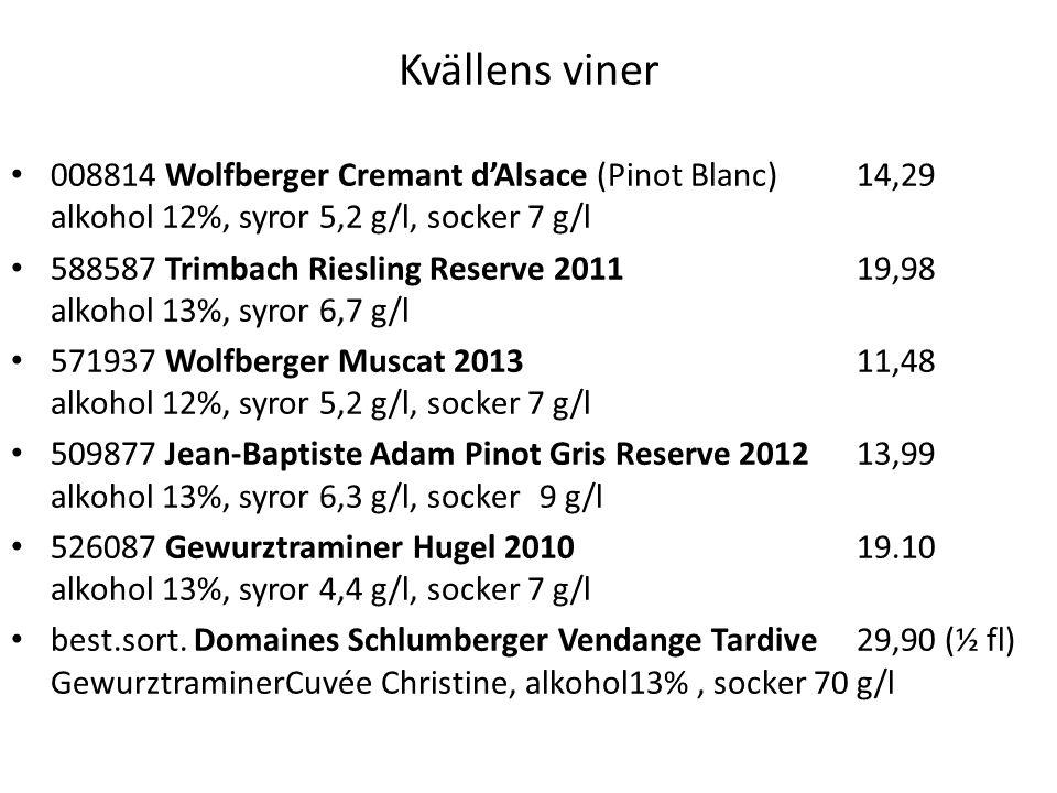 Kvällens viner 008814 Wolfberger Cremant d'Alsace (Pinot Blanc) 14,29 alkohol 12%, syror 5,2 g/l, socker 7 g/l.