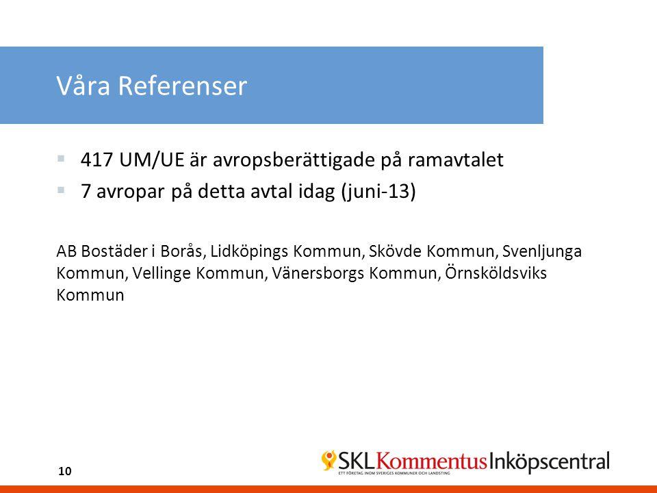 Våra Referenser 417 UM/UE är avropsberättigade på ramavtalet