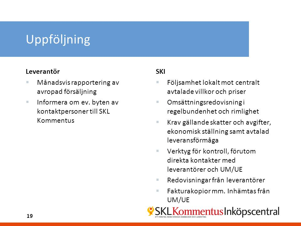 Uppföljning Leverantör Månadsvis rapportering av avropad försäljning