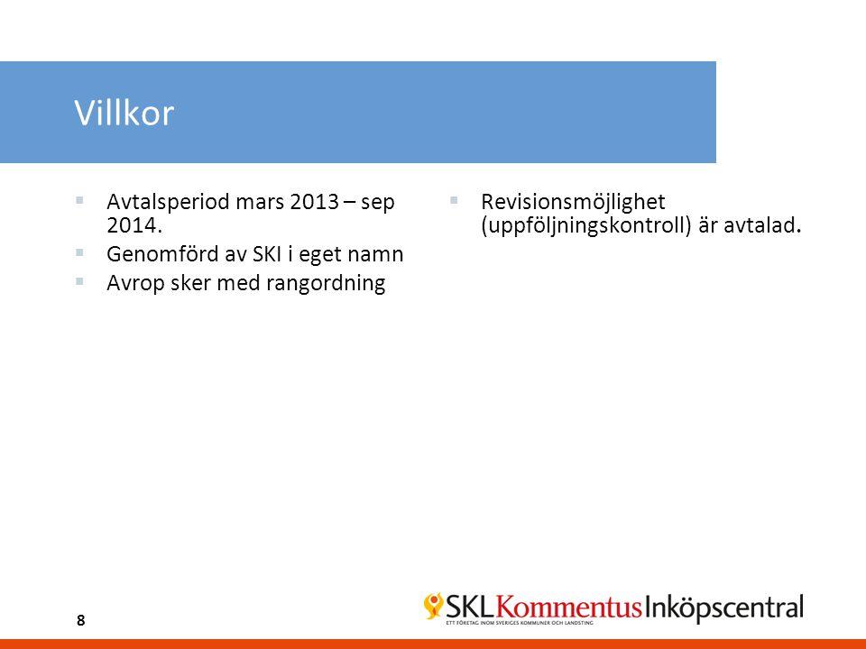 Villkor Avtalsperiod mars 2013 – sep 2014.