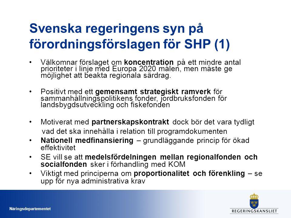 Svenska regeringens syn på förordningsförslagen för SHP (1)