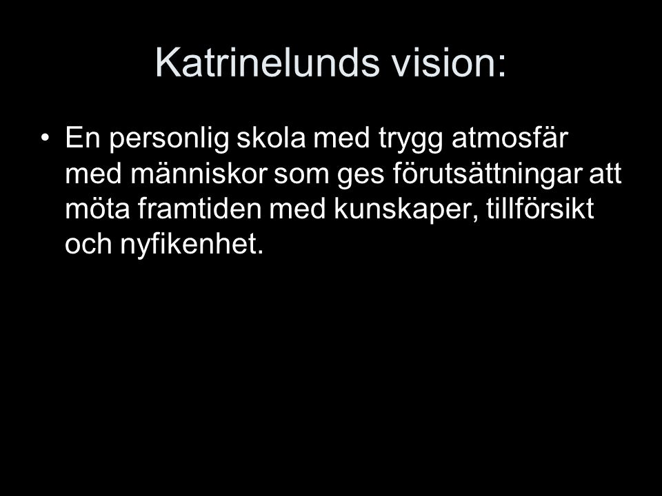 Katrinelunds vision: