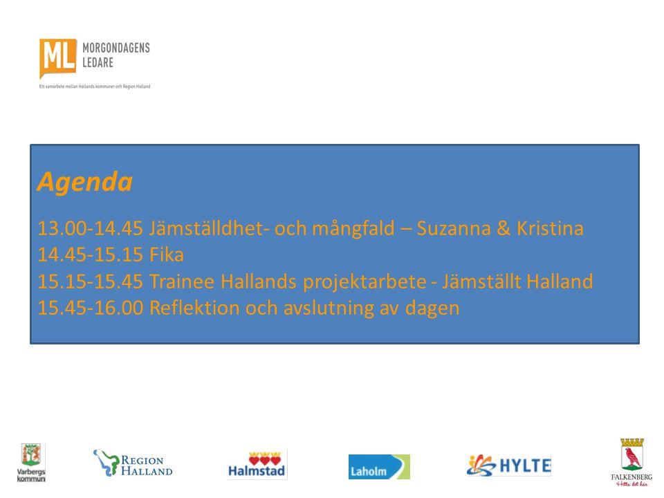 Agenda 13.00-14.45 Jämställdhet- och mångfald – Suzanna & Kristina