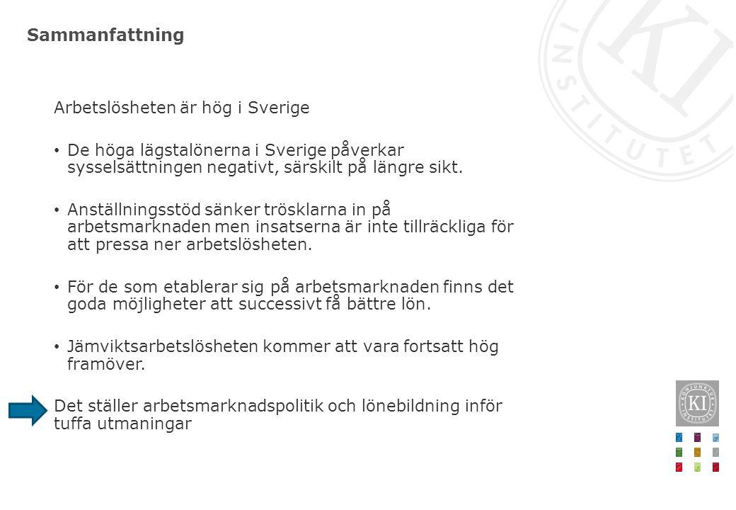Sammanfattning Arbetslösheten är hög i Sverige