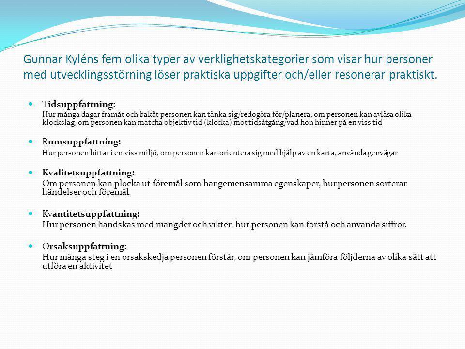 Gunnar Kyléns fem olika typer av verklighetskategorier som visar hur personer med utvecklingsstörning löser praktiska uppgifter och/eller resonerar praktiskt.
