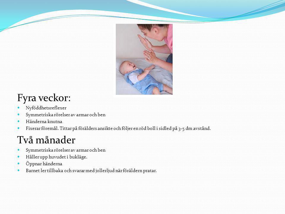 Fyra veckor: Två månader Nyföddhetsreflexer