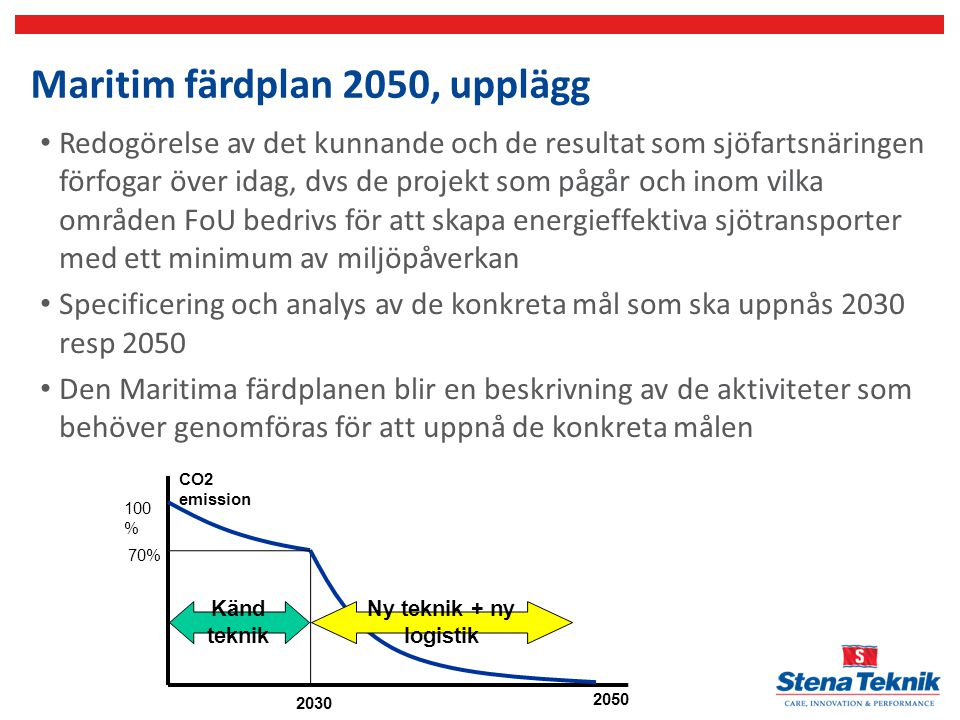 Maritim färdplan 2050, upplägg
