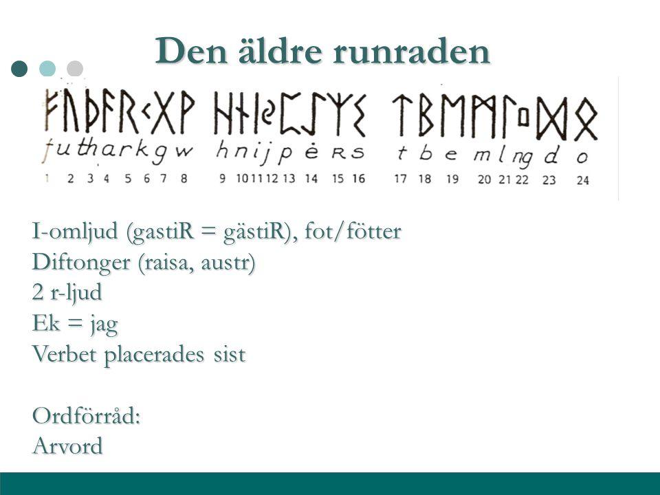 Den äldre runraden I-omljud (gastiR = gästiR), fot/fötter