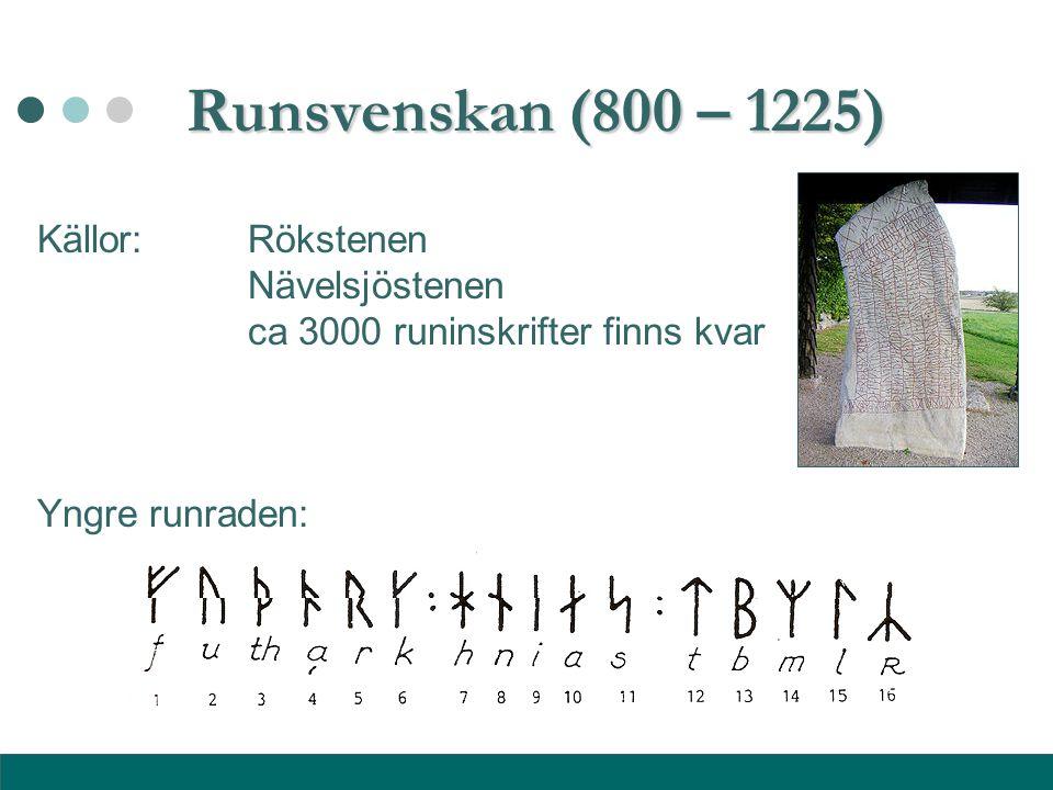 Runsvenskan (800 – 1225) Källor: Rökstenen Nävelsjöstenen